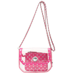 Chrissy Small Clear Game Day Handbag - Pink and Silver