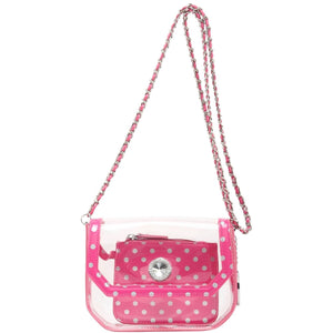 SCORE! Chrissy Small Designer Clear Crossbody Bag - Pink and Silver