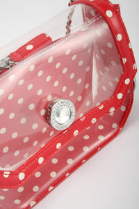 Chrissy Small Clear Crossbody Stadium Compliant Game Day Bag - Red and White
