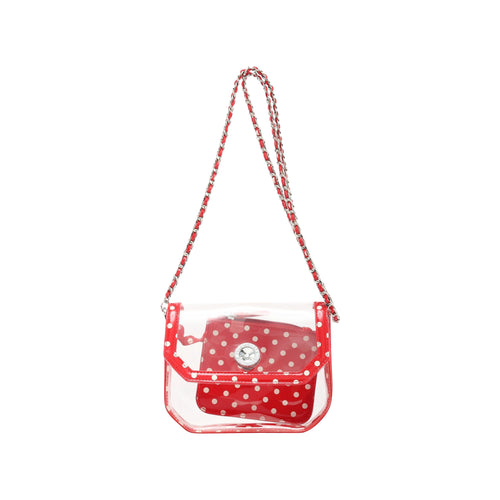 SCORE! Chrissy Small Designer Clear Crossbody Bag - Red and White