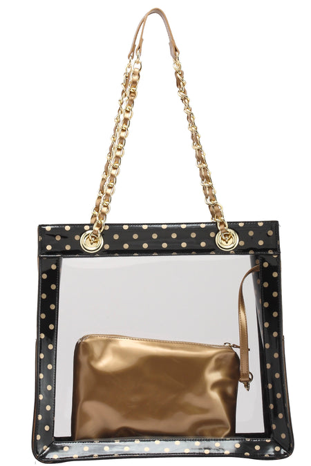 Andrea Clear Tailgate Tote - Black and Gold