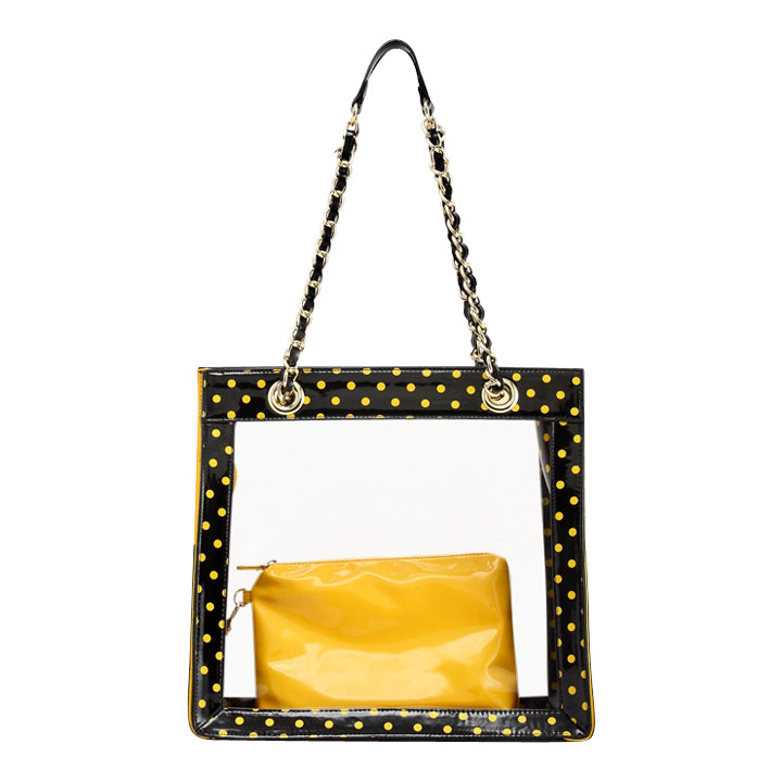 Andrea Clear Tailgate Tote - Black and Metallic Gold