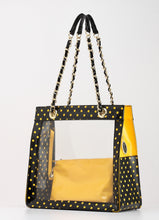 SCORE!'s Andrea Clear Tailgate Tote Polka Dot Shoulder Bag with Detachable Zippered Privacy Pouch - Black and Gold Yellow