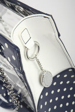 Andrea Clear Tailgate Tote - Navy Blue and White