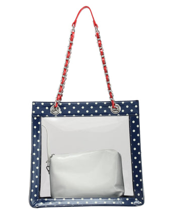 Andrea Clear Tailgate Tote - Navy Blue, White and Racing Red