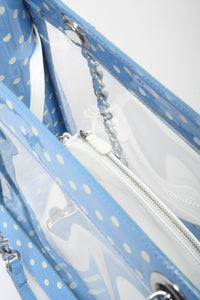 SCORE! Andrea Large Clear Designer Tote for School, Work, Travel- Light Blue and White