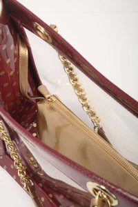 SCORE! Andrea Large Clear Designer Tote for School, Work, Travel - Maroon and Gold