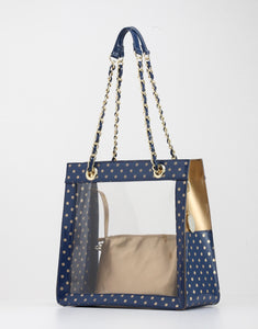 Andrea Clear Tailgate Tote - Navy Blue and Metallic Gold