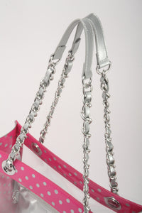 Andrea Clear Tailgate Tote - Pink and Silver