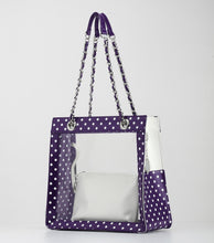 Andrea Clear Tailgate Tote - Royal Purple and White