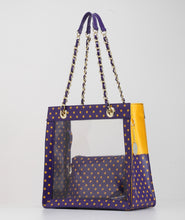 Andrea Clear Tailgate Tote - Royal Purple and  Yellow Gold