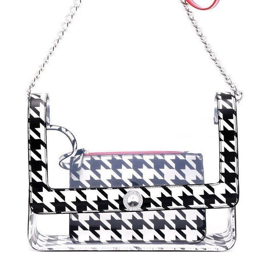 SCORE! Chrissy Medium Designer Clear Cross-body Bag - Black and White Houndstooth and Red