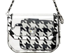 Chrissy Small Clear Stadium Compliant Crossbody Game Day Bag - Houndstooth and Red
