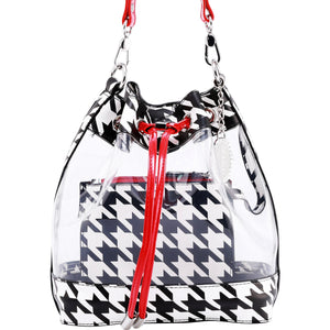 SCORE! Clear Sarah Jean Designer Stadium Shoulder Crossbody Purse Polka Dot Boho Bucket Game Day Bag Tote - Houndstooth Black, White and Red