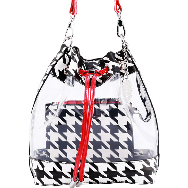 Sarah Jean Clear Bucket Handbag - Houndstooth and Racing Red