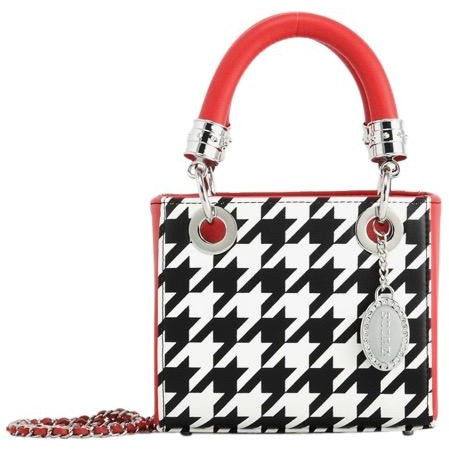 SCORE! Jacqui Classic Designer Stadium Approved Top Handle Satchel Polka Dot Detachable Chain Crossbody Square Game Day Bag Event Team Sorority Purse - Black and White Houndstooth and Red