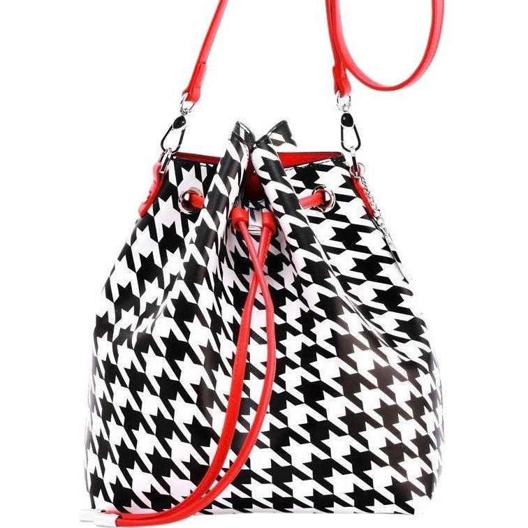 SCORE! Sarah Jean Crossbody Large BoHo Bucket Bag- Black and White Houndstooth and Red