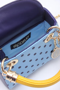 SCORE! Jacqui Classic Designer Stadium Approved Top Handle Satchel Polka Dot Detachable Chain Crossbody Square Game Day Bag Event Team Sorority Purse - Light Blue, Navy Blue and  Yellow Gold