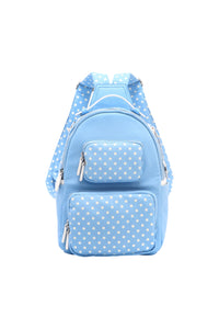 Natalie Michelle Backpack Medium - Light Blue and White