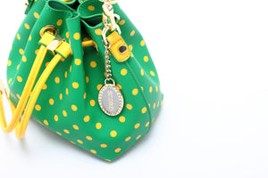 SCORE! Sarah Jean Designer Small Stadium Shoulder Crossbody Purse Polka Dot Boho Bucket Game Day Bag Tote - Bright Fern Green and Gold Yellow Sigma Alpha & Alpha Sigma Tau