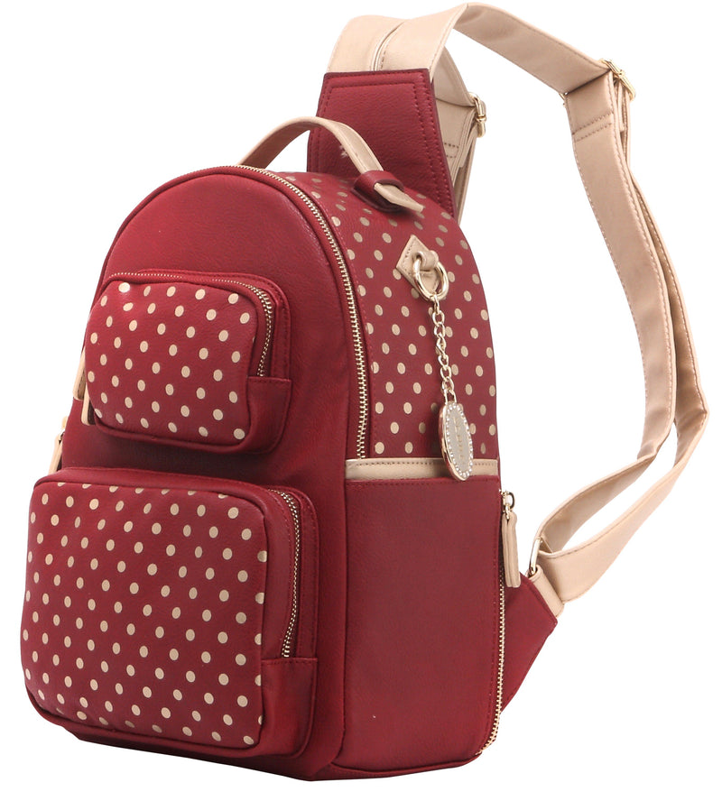 Natalie Michelle Backpack Medium - Maroon and Metallic Gold