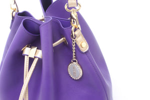 SCORE! Sarah Jean Crossbody Large BoHo Bucket Bag - Purple and Gold Gold