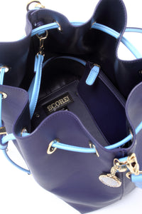 SCORE! Sarah Crossbody Large BoHo Bucket Bag - Navy Blue & Light Blue