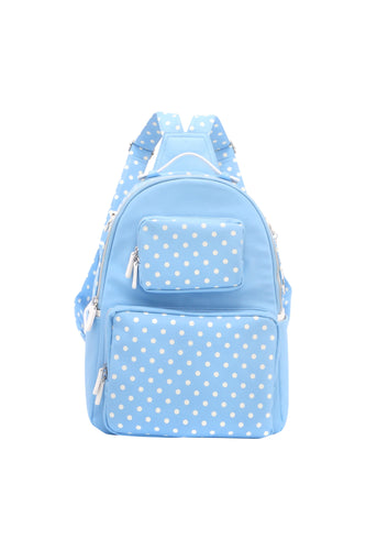 SCORE! Natalie Michelle Large Polka Dot Designer Backpack - Light Blue and White