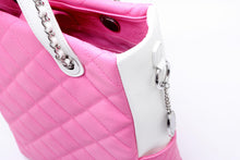 SCORE!'s Kat Travel Tote for Business, Work, or School Quilted Shoulder Bag - Pink and White