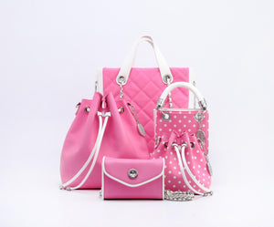 SCORE! Sarah Jean Small Crossbody Polka dot BoHo Bucket Bag - Pink and White Phi Mu