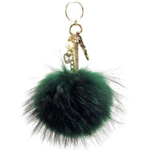 "Real Fur Puff Ball Pom-Pom 6"" Accessory Dangle Purse Charm - Fern Green with Gold Hardware"
