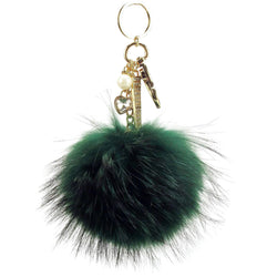Pom Pom Fur Ball Keychain Bag Dangle Accessory-Forest Green with Gold Hardware