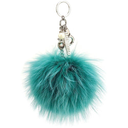 Pom Pom Fur Ball Keychain Bag Dangle Accessory-Turquoise with Silver Hardware