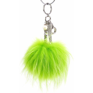 "Real Fur Puff Ball Pom-Pom 6"" Accessory Dangle Purse Charm - Lime Green with Silver Hardware"