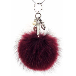 Pom Pom Fur Ball Keychain Bag Dangle Accessory-Maroon with Silver Hardware