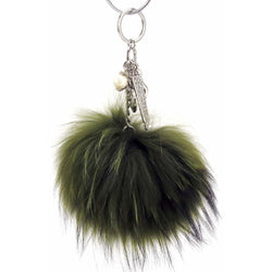 Pom Pom Fur Ball Keychain Bag Dangle Accessory-Olive Green with Silver Hardware