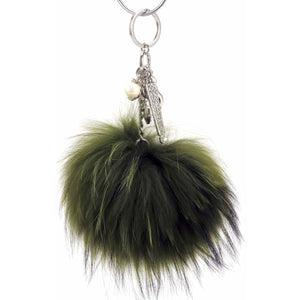 "Real Fur Puff Ball Pom-Pom 6"" Accessory Dangle Purse Charm - Olive Green with Silver Hardware"