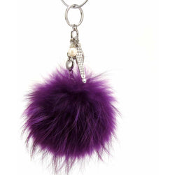 Pom Pom Fur Ball Keychain Bag Dangle Accessory-Royal Purple with Silver Hardware