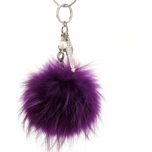 "Real Fur Puff Ball Pom-Pom 6"" Accessory Dangle Purse Charm - Purple with Silver Hardware"