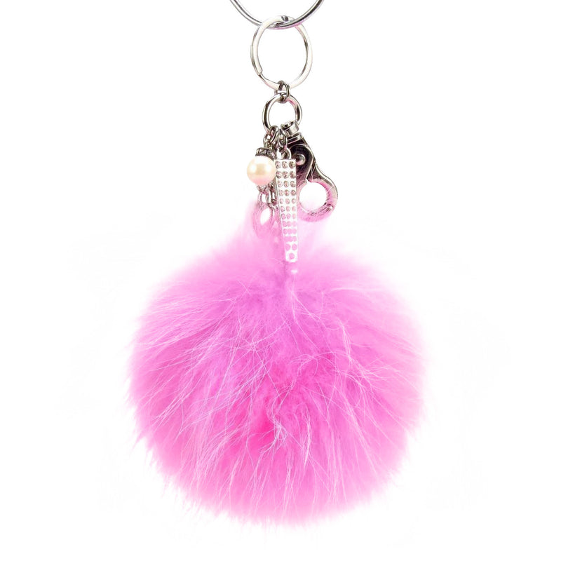 Pom Pom Fur Ball Keychain Bag Dangle Accessory-Aurora Pink with Silver Hardware