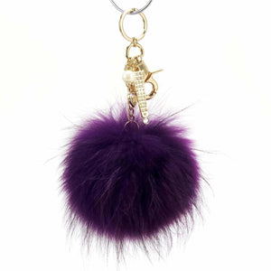 "Real Fur Puff Ball Pom-Pom 6"" Accessory Dangle Purse Charm - Purple with Gold Hardware"