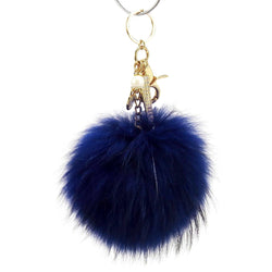 Pom Pom Fur Ball Keychain Bag Dangle Accessory-Royal Blue with Gold Hardware