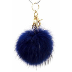 Pom Pom Fur Ball Keychain Bag Dangle Accessory-Navy Blue with Gold Hardware