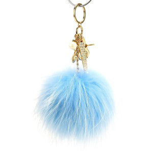 "Real Fur Puff Ball Pom-Pom 6"" Accessory Dangle Purse Charm - Light Blue with Gold Hardware"