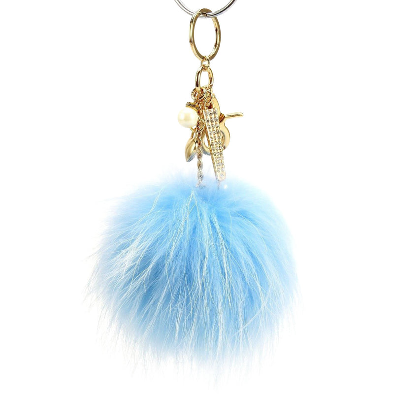 Pom Pom Fur Ball Keychain Bag Dangle Accessory-Navy Blue with Metallic Gold Hardware