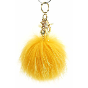"Real Fur Pom-Pom 6"" Dangle Accessory- Yellow Gold with Metallic Gold Hardware"