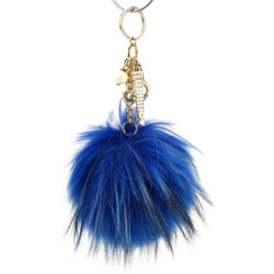 Pom Pom Fur Ball Keychain Bag Dangle Accessory-French Blue with Gold Hardware