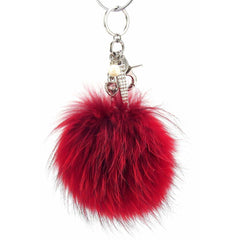 Pom Pom Fur Ball Keychain Bag Dangle Accessory-Racing Red with Silver Hardware