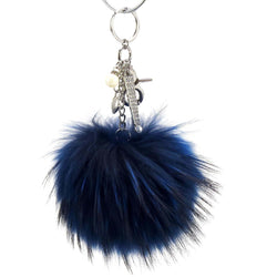 Pom Pom Fur Ball Keychain Bag Dangle Accessory-Royal Blue with Silver Hardware
