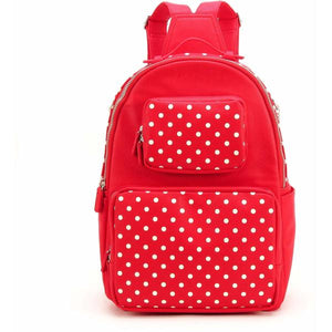 SCORE!'s Natalie Michelle Medium Polka Dot Designer Backpack - Red and White
